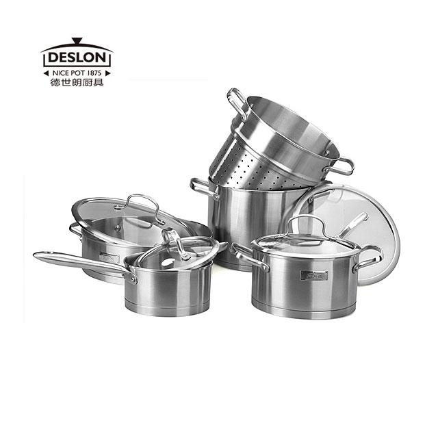 徳世朗 优质不锈钢全能套锅 四件套 炒锅 汤锅 蒸锅 奶锅