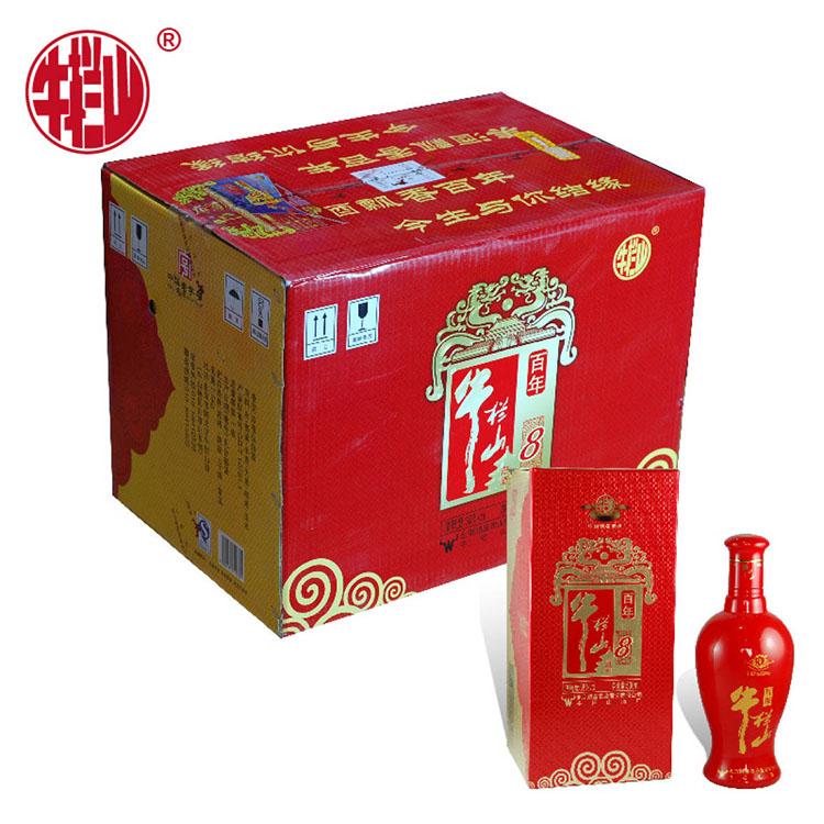 (开箱有礼版)牛栏山 红8年 38度 浓香型 500ml*6瓶 箱装配仨袋
