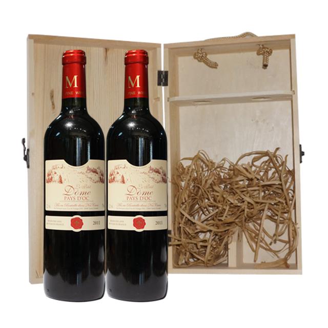 原木双支礼盒(翻盖)(WINE GIFT WRAP LEATHER WOODEN CASE FOR 2 BOTTLES)   原木礼盒  LH0031 + 2支法国贵妇小多美2012年干红葡萄酒(Le petit Dome IGP) 贵妇系列小多美 PT2164  750ml
