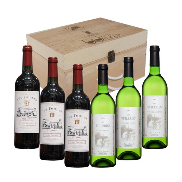 原木礼盒(6支装) + 3支法国波尔多2012年干红葡萄酒DOUVES PT2165  750ml  法国恬悦2011年干白葡萄酒 PT1548  750ml