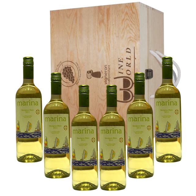 原木礼盒(6支装)+ 6支 智利玛瑞拉长相思2011年干白葡萄酒(Marina Sauvignon Blanc)玛瑞拉 PT1409  750ml*6