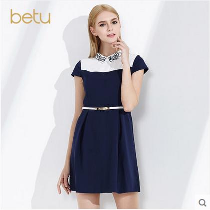 百图显瘦女短裙刺绣短袖修身拼色连衣裙女2016春装新款1604F06