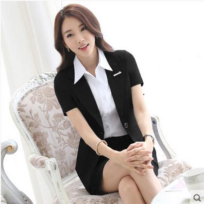 职业套装女夏套裙短袖面试西装正装银行酒店白领公务员工作服工装