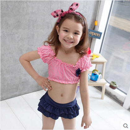 新款可爱儿童游泳衣分体裙式女童公主牛仔时尚温泉款比基尼