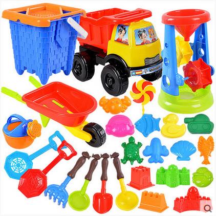 儿童沙滩玩具车套装大号宝宝桶铲子玩沙子挖沙工具决明子洗澡玩具